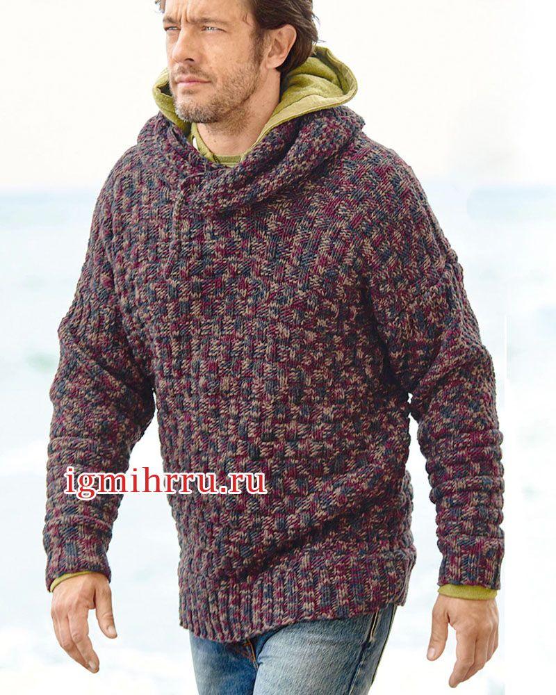c2887dca4010a Мужской меланжевый пуловер с капюшоном. Вязание спицами для мужчин ...