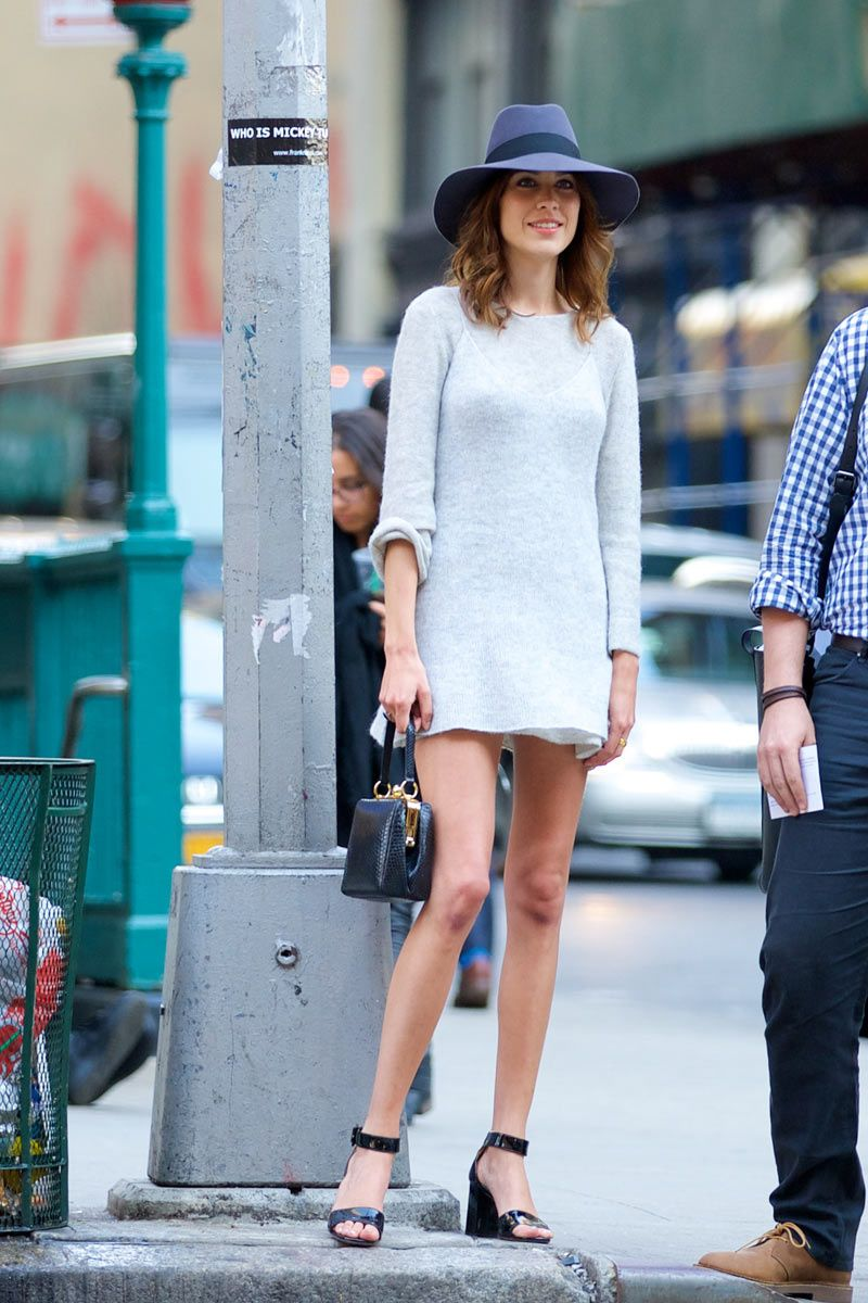 ee10a6fb17c Alexa wearing a short light blue dress from the pre-fall 2014 Calvin Klein  Collection and a blue fedora hat