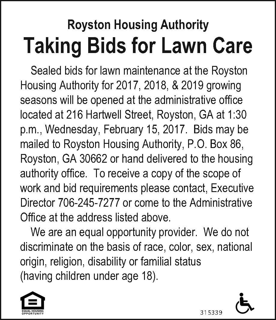 Sealed Bids For Lawn Maintenance At The Royston Housing Authority For 2017 2018 201 Royston Housing Authority Roys Lawn Maintenance Lawn Care Bid