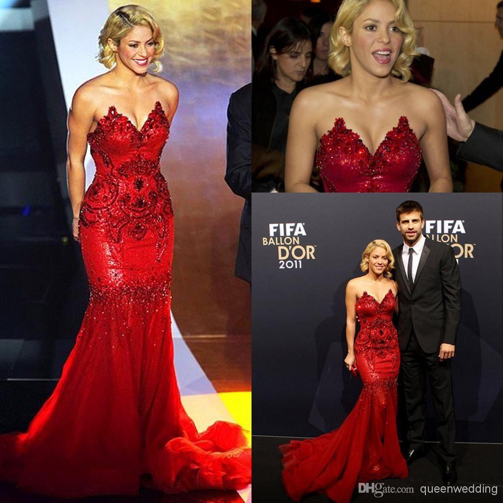 Shakira Celebrity dress Mermaid V Neck Beaded Sequins Court Train ...