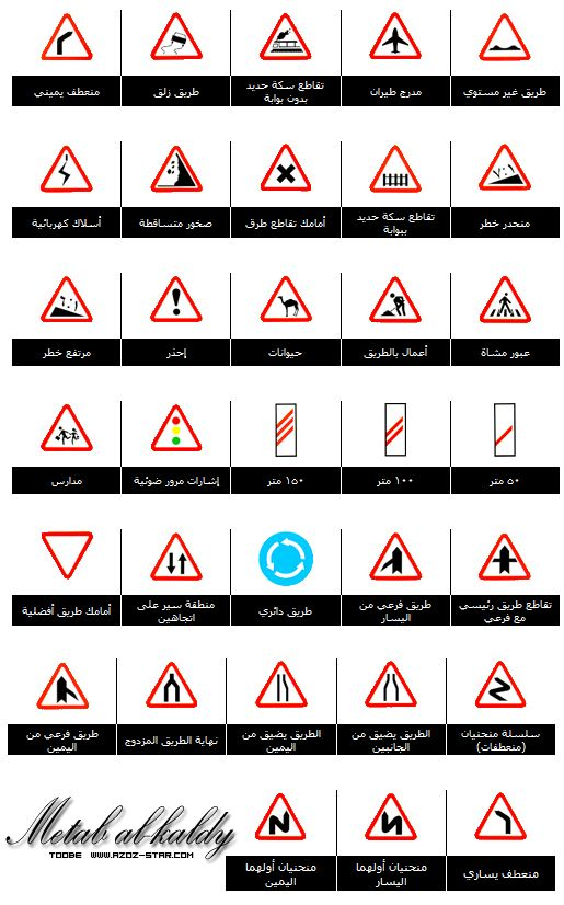 Isharat Seir إشارات السير Isharat Traffic Signs In Arabic Traffic Signs Sign Language Alphabet Road Signs
