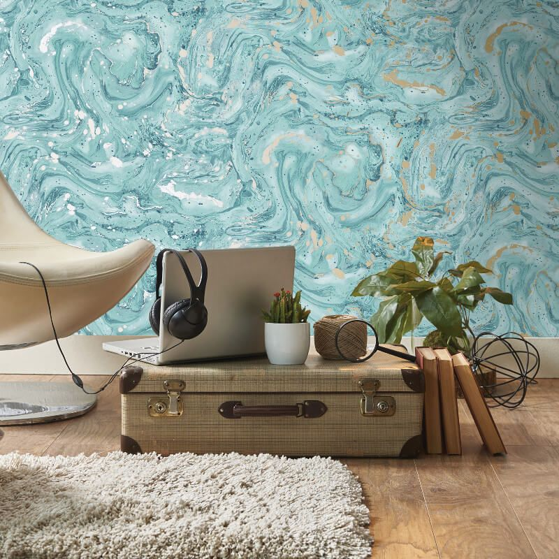 Holden Decor Azurite Marble Teal/Gold Metallic Wallpaper