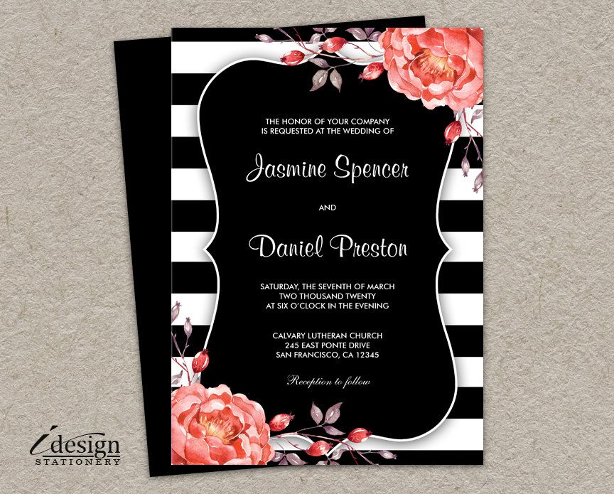 Printable Black And White Stripe Wedding Invitation With Coral ...
