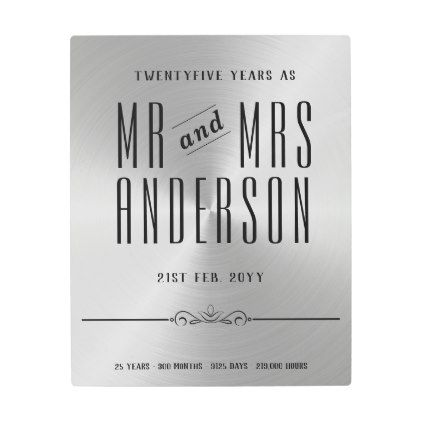 25th Wedding Anniversary Silver Metallic Metal Print