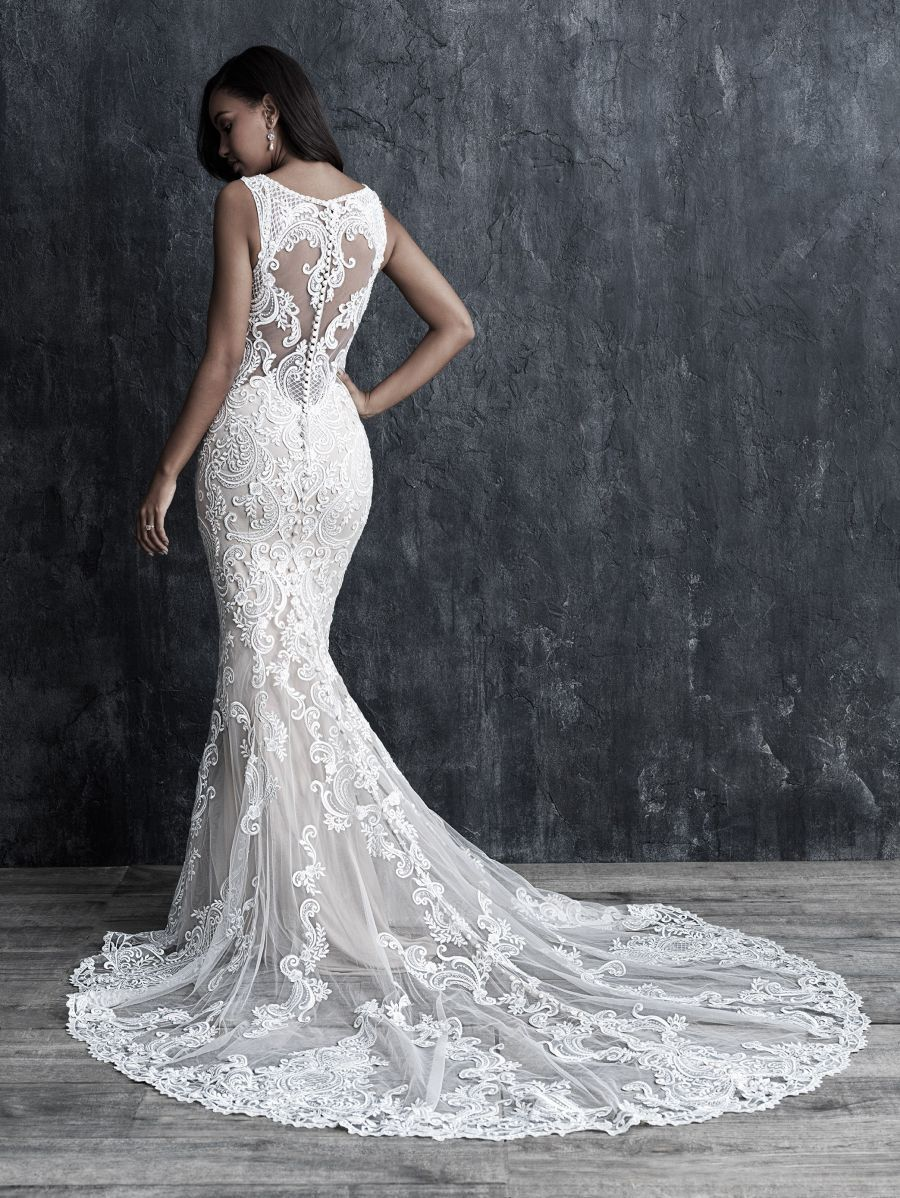 This Gorgeous Embroidered Bridal Gown Is All About Texture And Contrast Allure Couture C548 Allure Bridal Allure Wedding Dresses Allure Bridal Couture