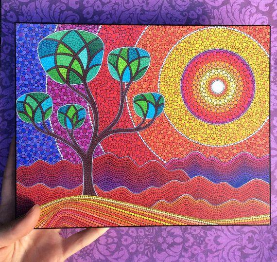 Colorful print laminated on woodblock summer blaze - Tirage photos gratuits sans frais de port ...