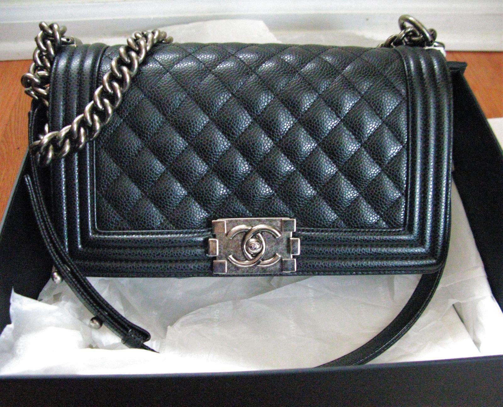 mint authentic chanel le boy bag black caviar dark silver hardware old medium 45990 chanel handbags pinterest boys medium and silver