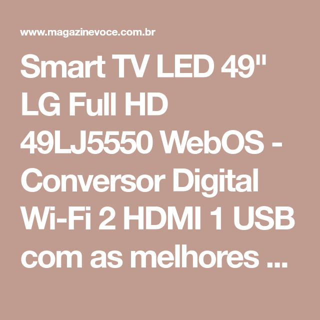 "Smart TV LED 49"" LG Full HD 49LJ5550 WebOS Conversor"