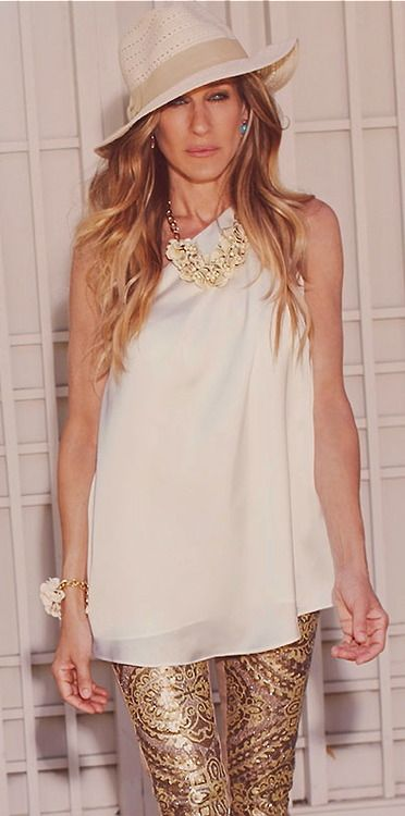 White and Gold.  Sarah Jessica Parker. Use my white fedora, gold sequin top and white jeans. Perfect for an evening out dancing ~