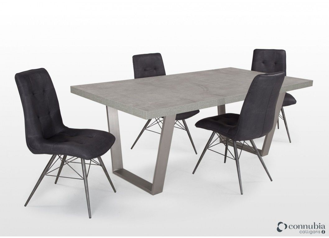 Contemporary Concrete Look Dining Table 4 Chairs Odessa