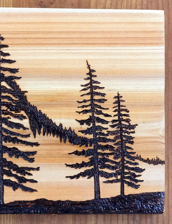 Woodburning Art Pyrography Mountains Pine Trees Landscape Abstract Original