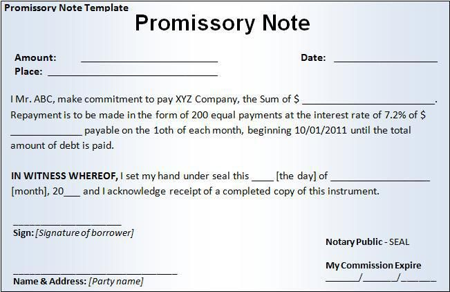 Promissory Note Template | Promissory Note Form Printableform Pinterest