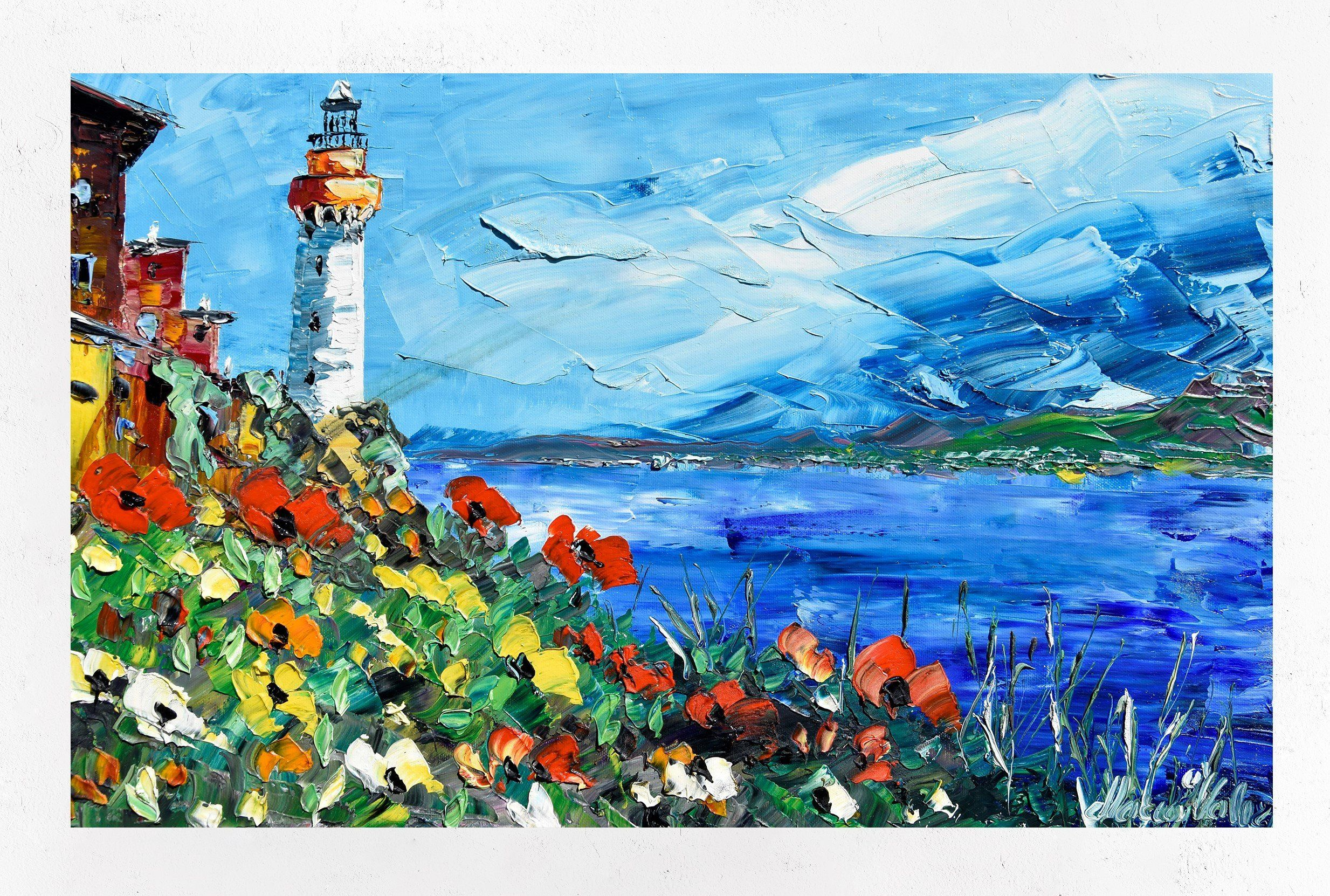 Lighthouse on the coast, painting on canvas, gift for ...