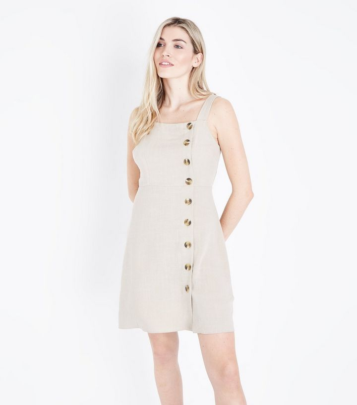 30bd881222fd66 Stone Button Front Pinafore Dress