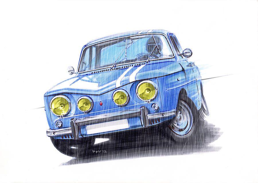 Renault 8 gordini car art illustration pinterest renault dessin voiture et voiture - Dessin renault ...