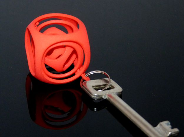 Gyro the Cube (S) (Ring + Smooth) 3d printed Coral red!