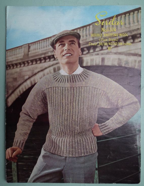 """Vintage Knitting Pattern Men/'s Cable Jumper With//Without sleeves 40/""""-44/"""" Chest."""