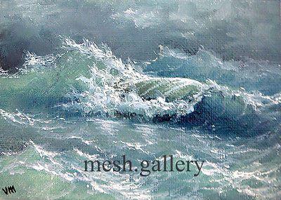 "143-5/""x7/"" CANVAS GICLEE ART PRINT SEASCAPE Wave Ocean Storm Nautical Museum"