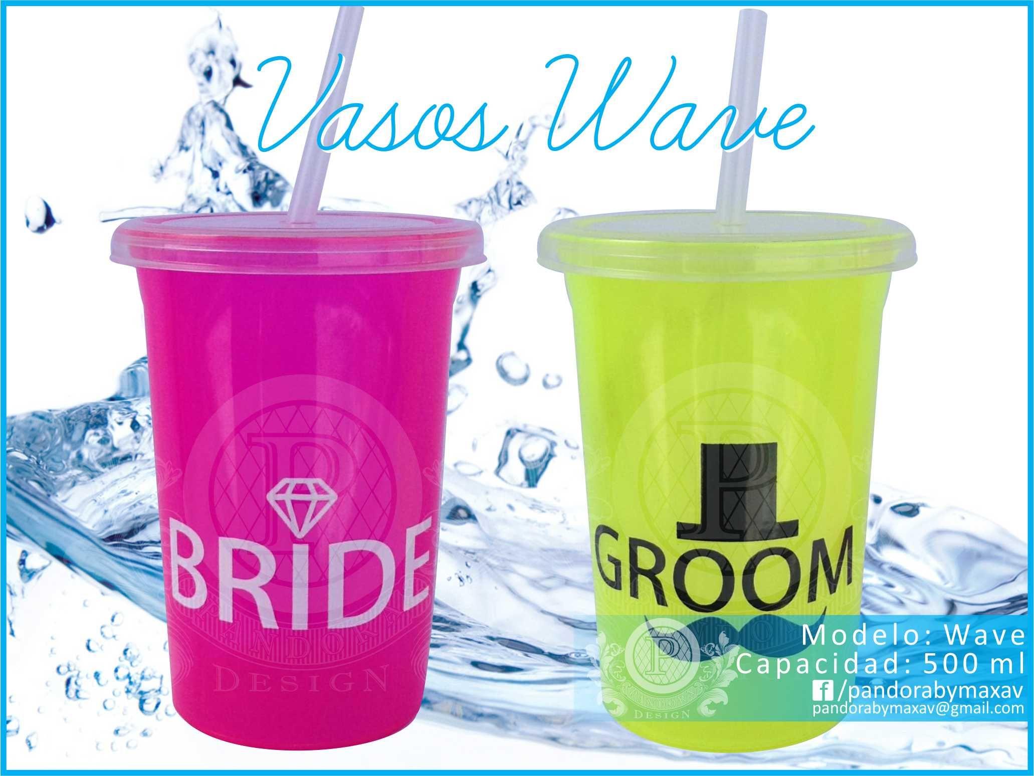 Vasos de plastico con tapa y popote para boda Modelo: Wave Capacidad ...