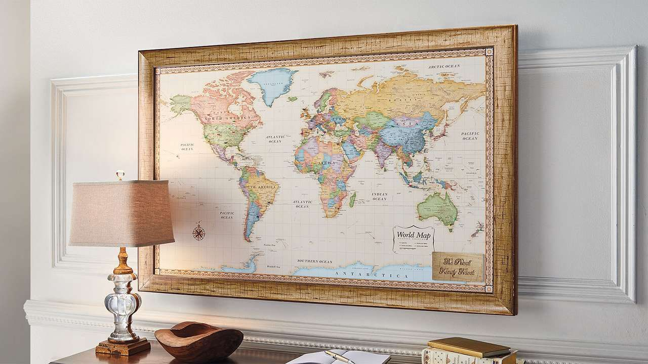 World Magnetic Travel Map With Antique White Frame Travel Wallpaper Antique World Map Travel Inspired