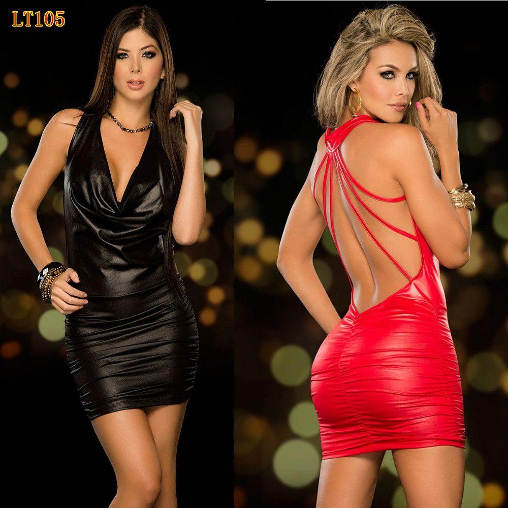 642bbca707893 High Quality women nightclub dress sexy imitation leather metal cool ...