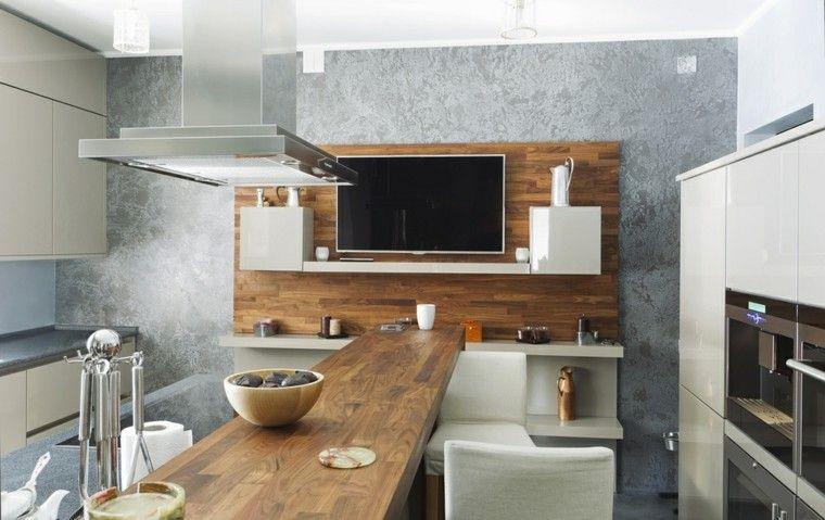 Barras de cocina de diseño moderno - 50 ideas | Madera laminada ...