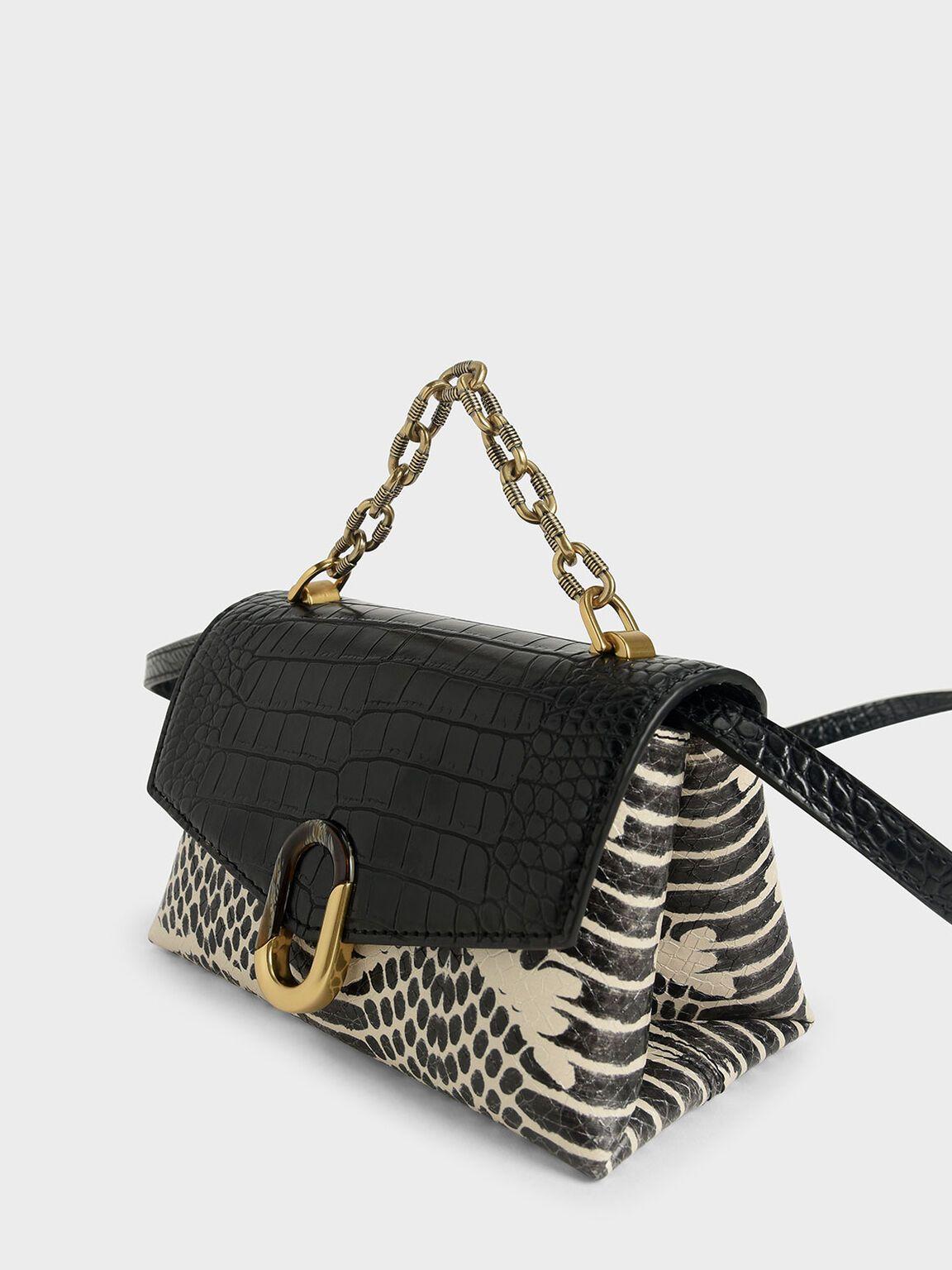 WOMENS LADIES DESIGNER CROC EFFECT CHAIN FAUX LEATHER CLUTCH BAG TOP HANDLE BAG