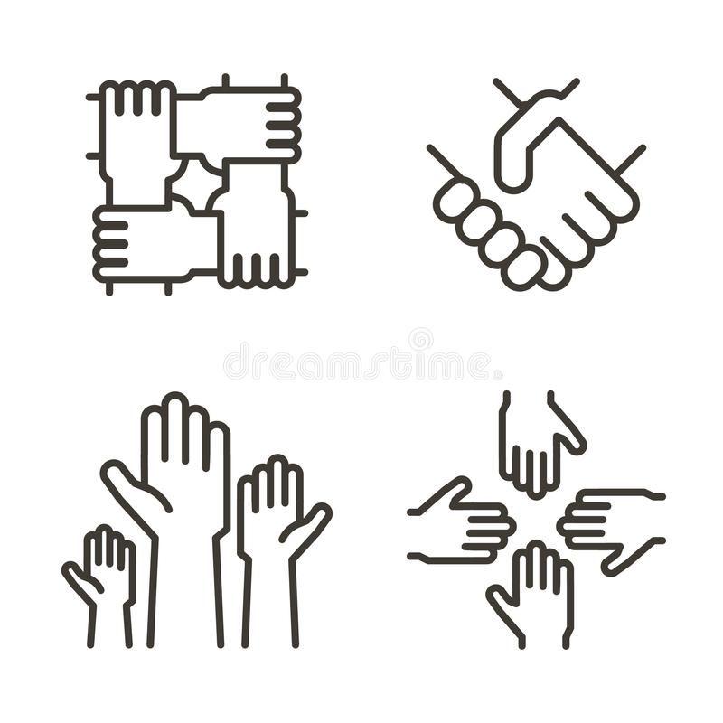 Set Of Hand Icons Representing Partnership Community Charity Teamwork Busine Ad Representing Partnersh Hands Icon Unity Logo Graphic Design Brochure