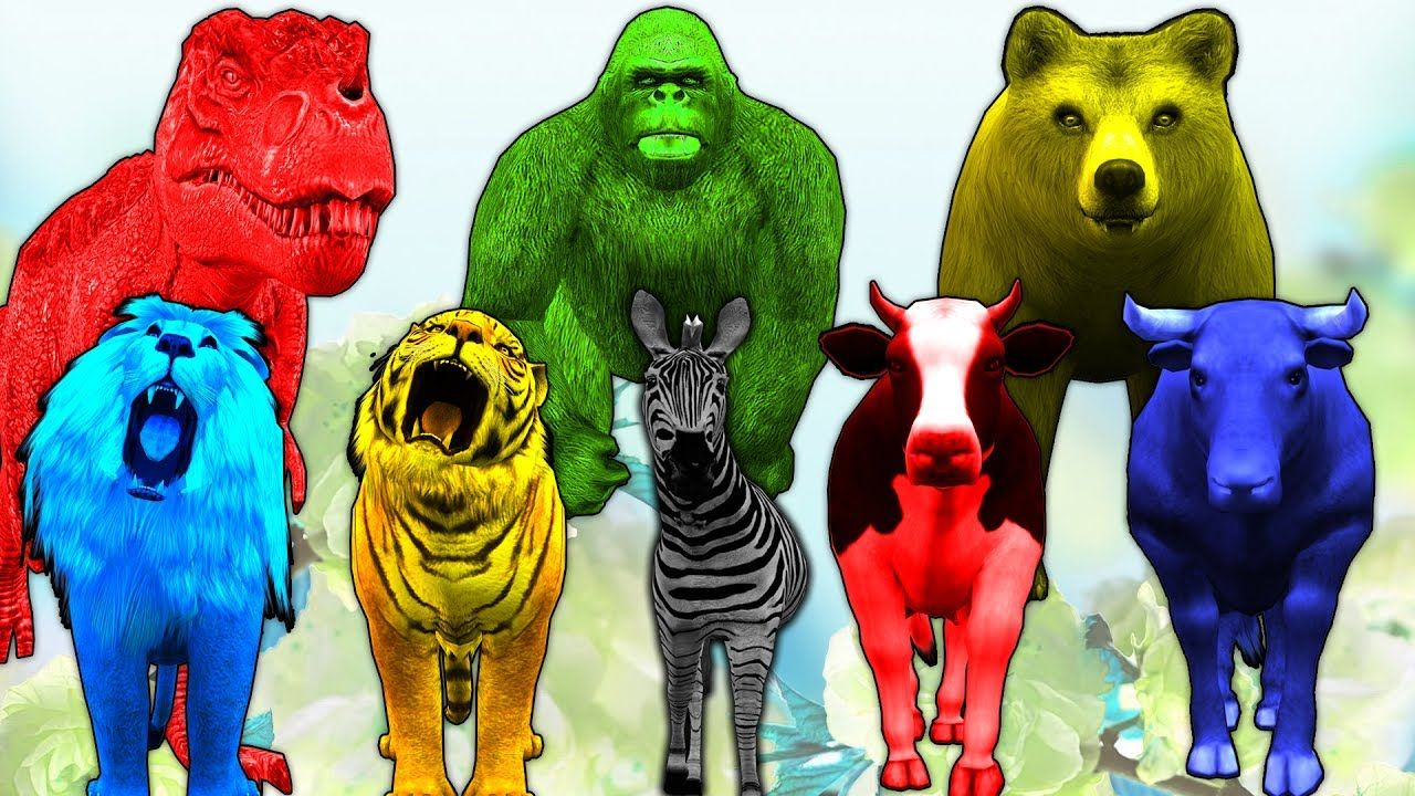 Learn Colors & Wild Animal Names - Kids Colors & Wild Animals ...