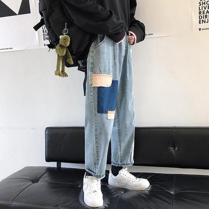 AESTHETIC ART HOE MEN DENIM PANTS