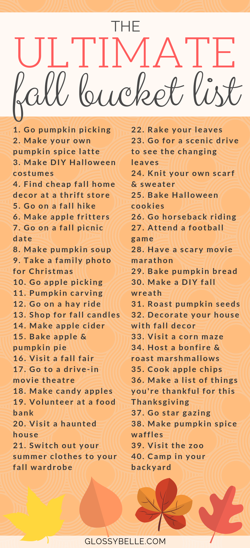 The Ultimate Fall Bucket List: 40 Fun Activities To Try This Autumn – Glossy Belle