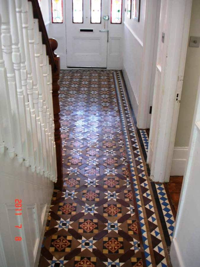 Victorian Tile Hallway Floor After Cleaning And Sealing By