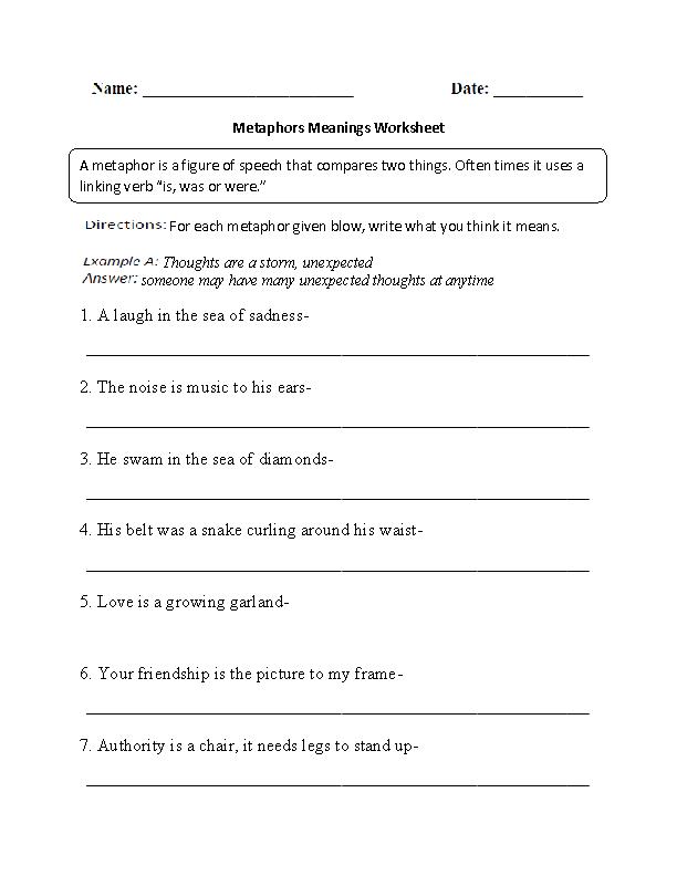 math worksheet : metaphors worksheet meanings part 1 intermediate  school  : What Is A Metaphor Math Worksheet