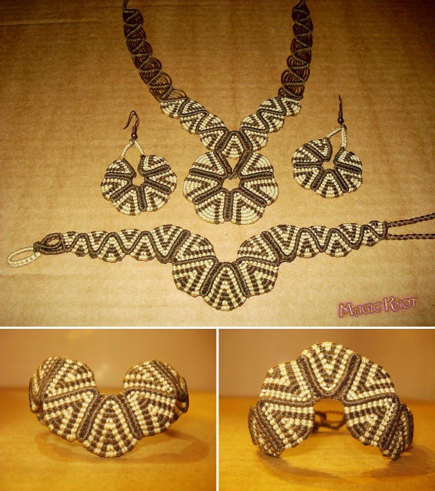 Set Of Magic Knot Macrame Jewelry Necklaces Bracelets And