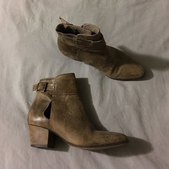 Free People Belleville Ankle Booties Worn maybe three times. Cute Free People booties with a cut out on the outside of each boot. No trades. Free People Shoes Ankle Boots & Booties