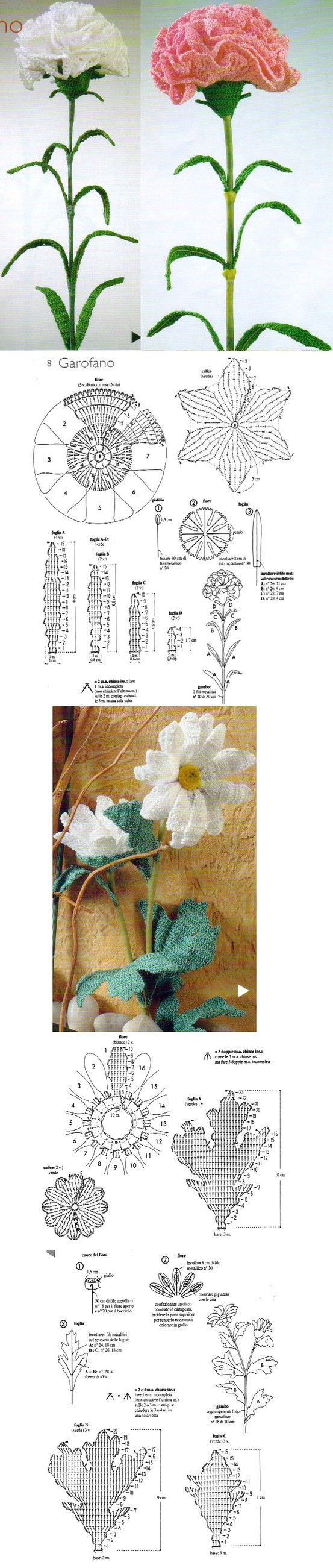 crochet flowers and leaves - beautiful and with a chart, but looks ...