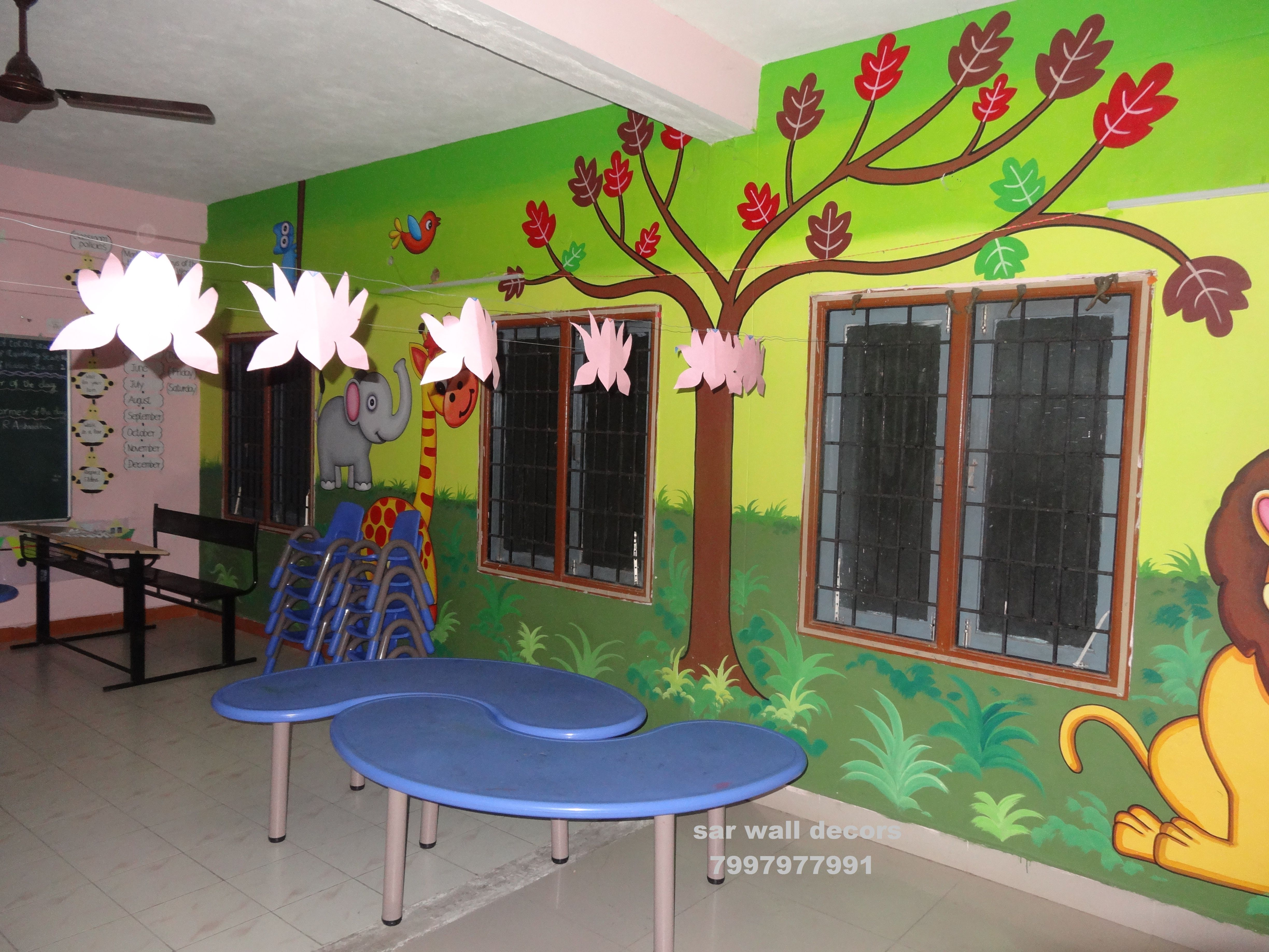 3d School Wall Painting Specialized Cartoon Artist