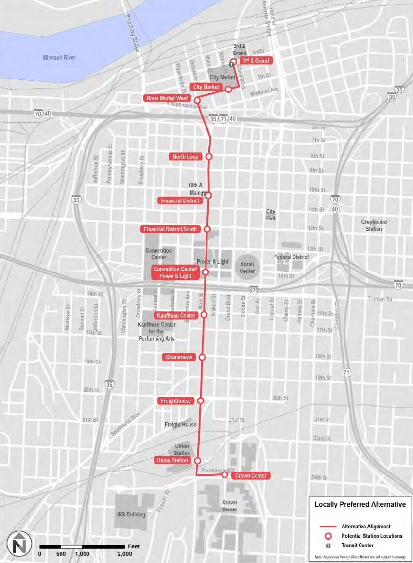Kansas City Streetcar Map Kansas City Future Streetcar Proposal Map. | Transit | Kansas city  Kansas City Streetcar Map