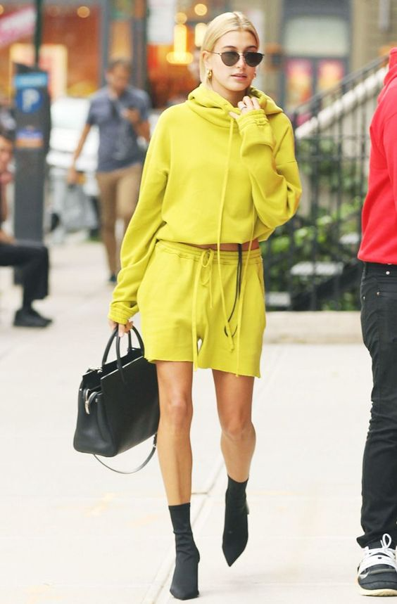Hailey Baldwin making a statement in bright colors : 6 ways to wear neon in summer