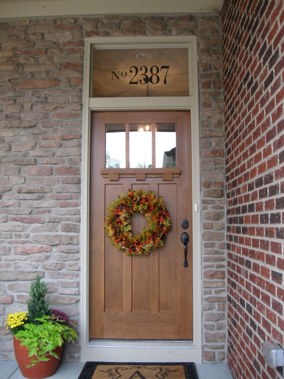 Transom window house numbers love that front door my for Exterior door with window