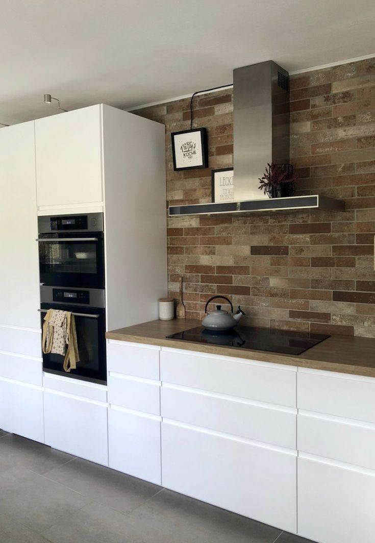My new dream kitchen / IKEA kitchen / Scandinavian style / white kitchen / white with wood / modern / brick wall as a tile mirror