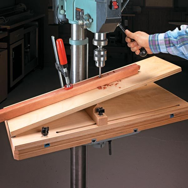 Handy Drill Press Jig Strong Build An Adjustable Table Strong To Drill Angled Holes A Piece Of Cake In 2020 Drill Press Woodworking Drill Press Drill Press Table