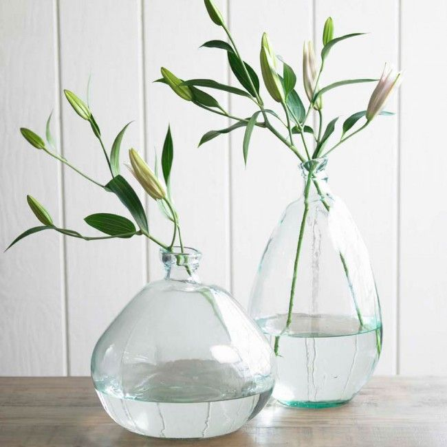 Recycled Glass Balloon Vases Classically Clear