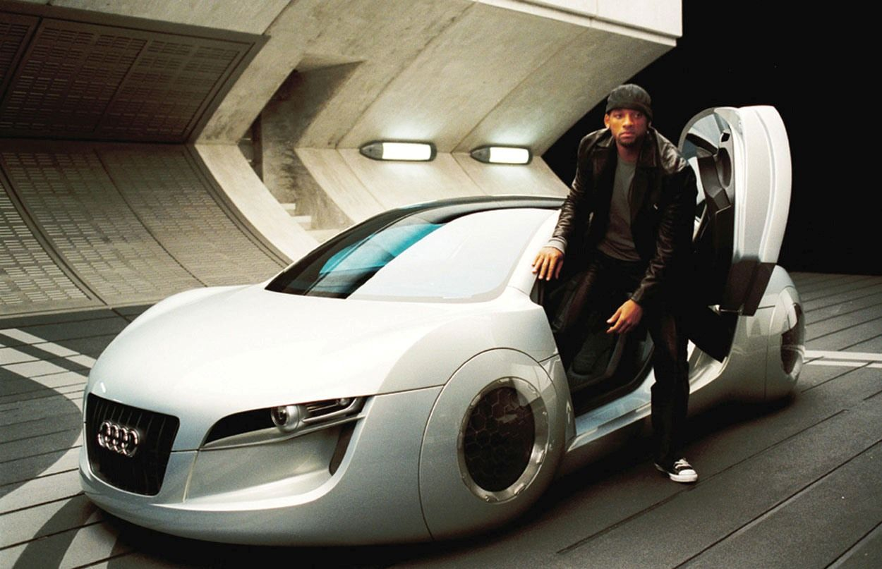 The futuristic audi rsq designed especially for the new will smith film i robot to be used only in conjuction with promotion of i robot