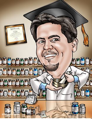 Custom Graduation Caricature Gift   Pharmacy