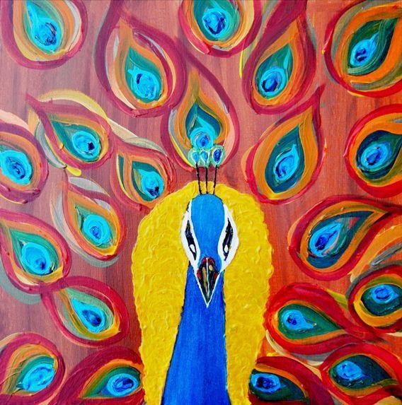"'Yellow Peacock' by Kruti Shah | $250 | 16""w x 16""h | Original Art | http://www.arttwo50.com/buy/art/yellow-peacock"