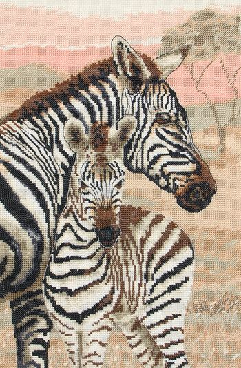 Zebra Family (African Zebras) - Cross Stitch Kit | Rusland mønster ...