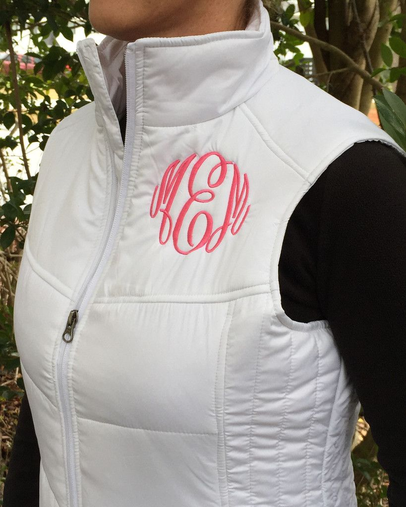 Cute, monogrammed puffer vest has a gently contoured silhouette and is the perfect layer for cool weather.