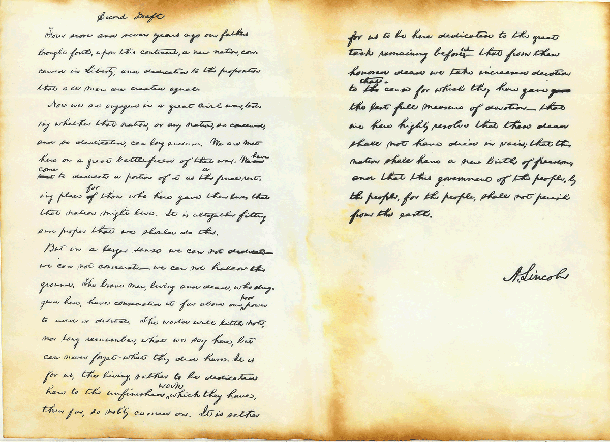 The Original Second Draft Of The Gettysburg Address By