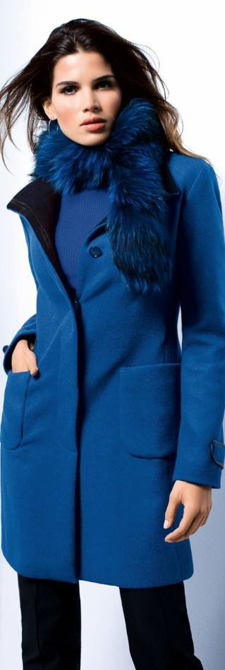 Blue coat. Street women fashion outfit clothing style apparel @roressclothes closet ideas